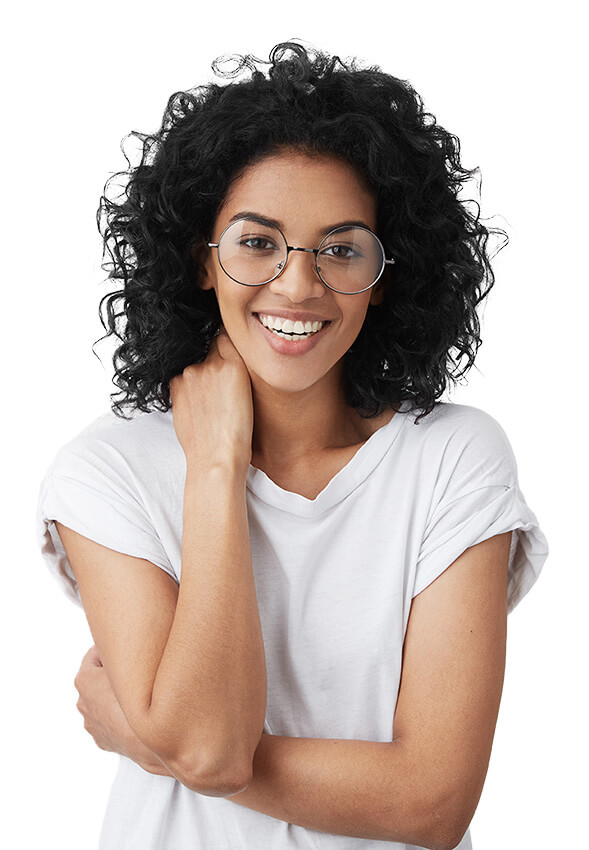 Smiling young woman with stylish glasses