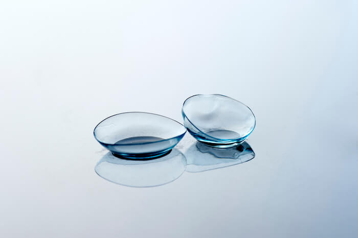 Close up of contact lenses