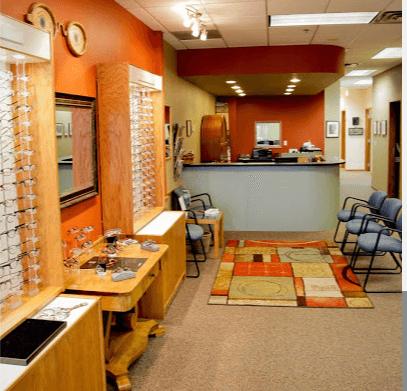 Interior of Sunrise Vision Care. Designer frames on display.