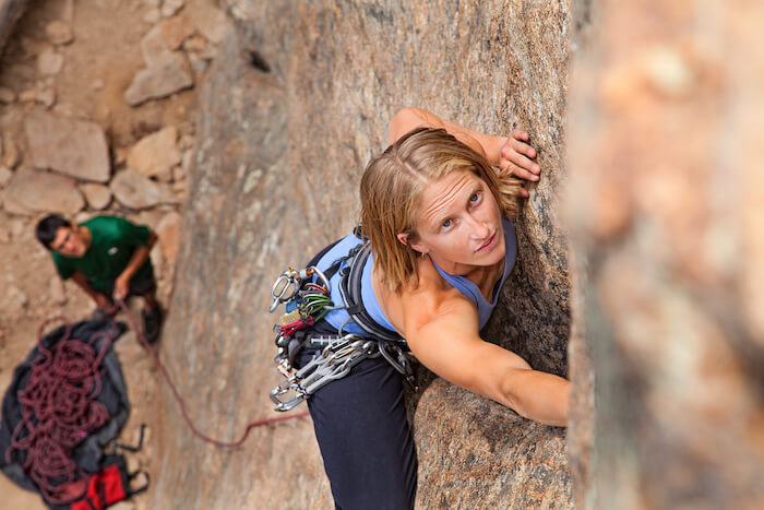 Woman rock climing